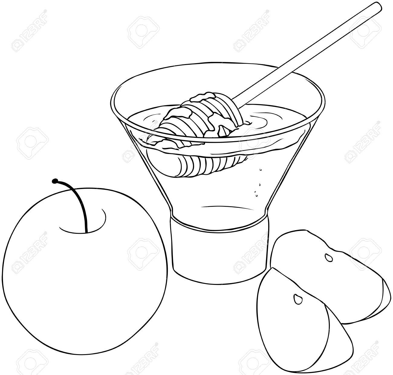 Ilustración Vectorial Para Colorear De Miel Y Manzana Para Rosh ...