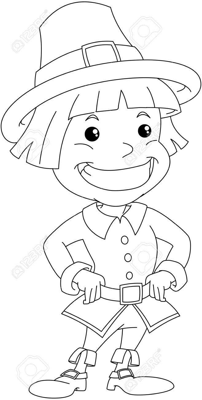 Ilustración Vectorial Para Colorear De Un Niño Colono Llevando Ropa ...