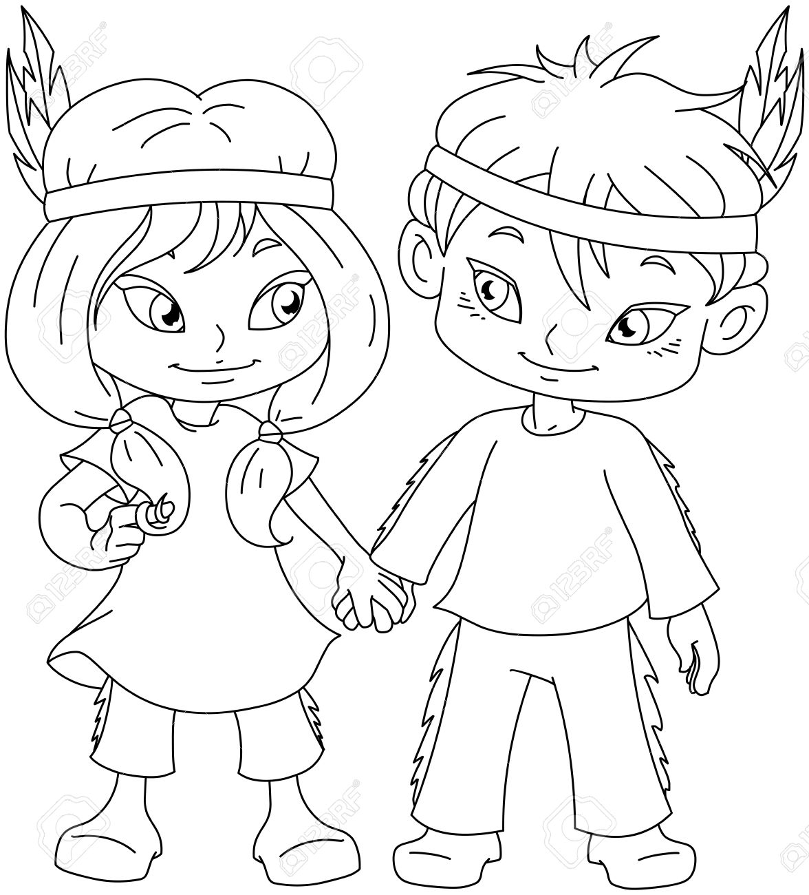 Vector Illustration Coloring Page Of Children Dressed As Indians ...