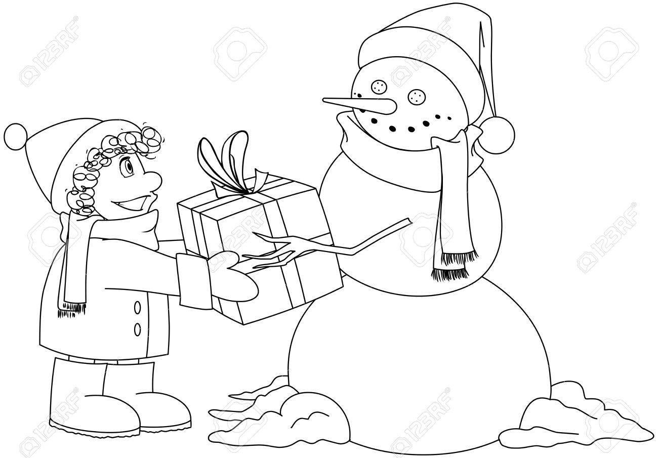 Vektor Illustration Malvorlagen Von Einem Schneemann Der Ein