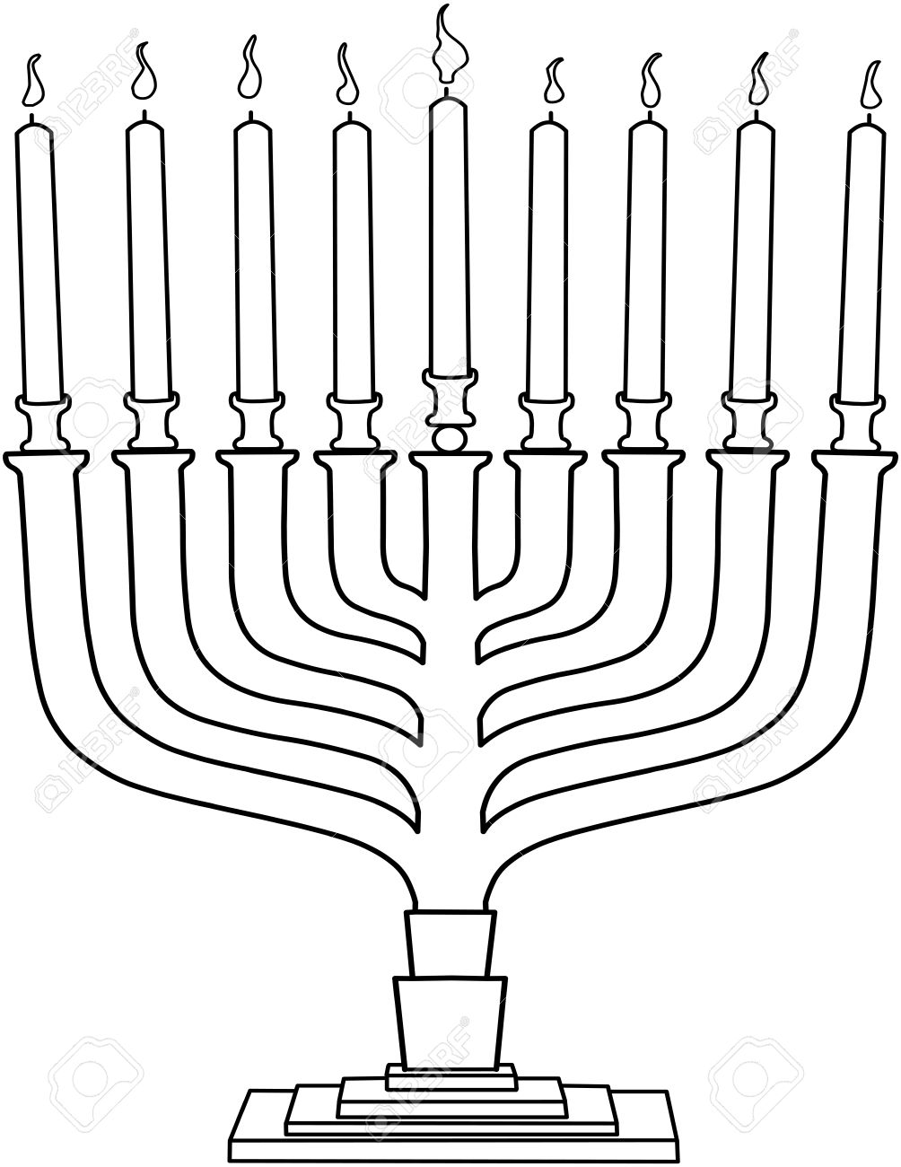 vector illustration coloring page of hanukkiah with candles for
