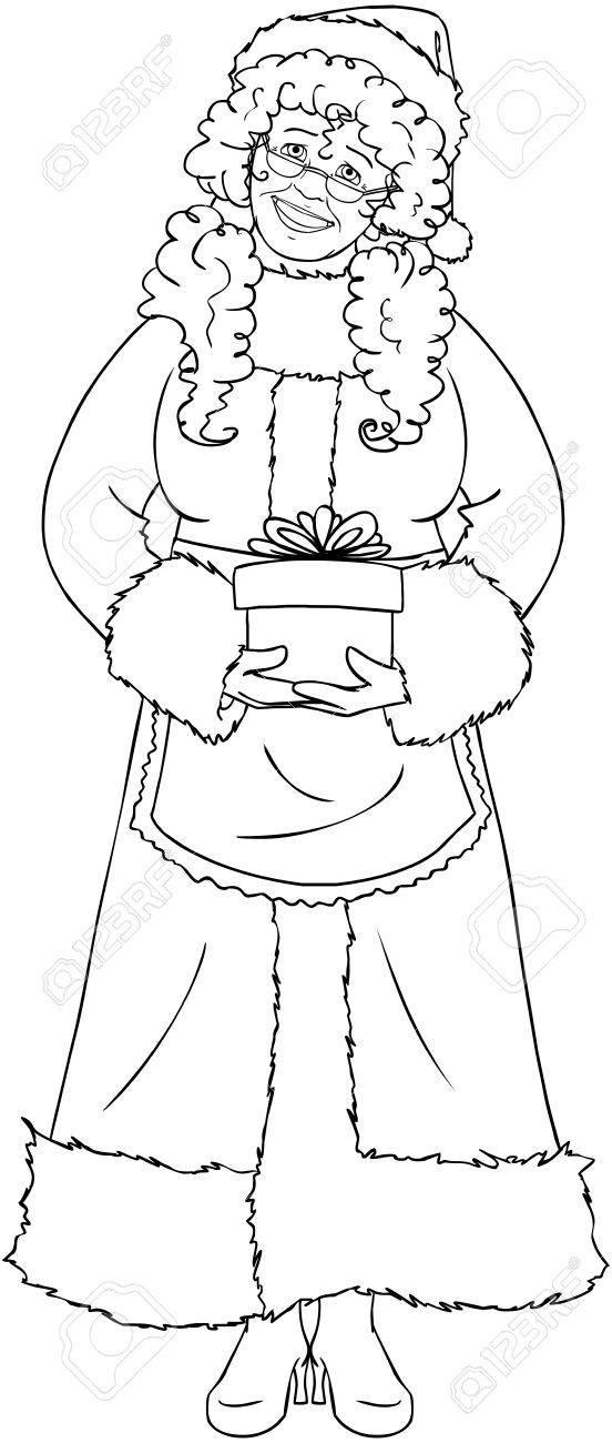 Ilustración Vectorial Para Colorear De La Sra. Claus, Sosteniendo Un ...