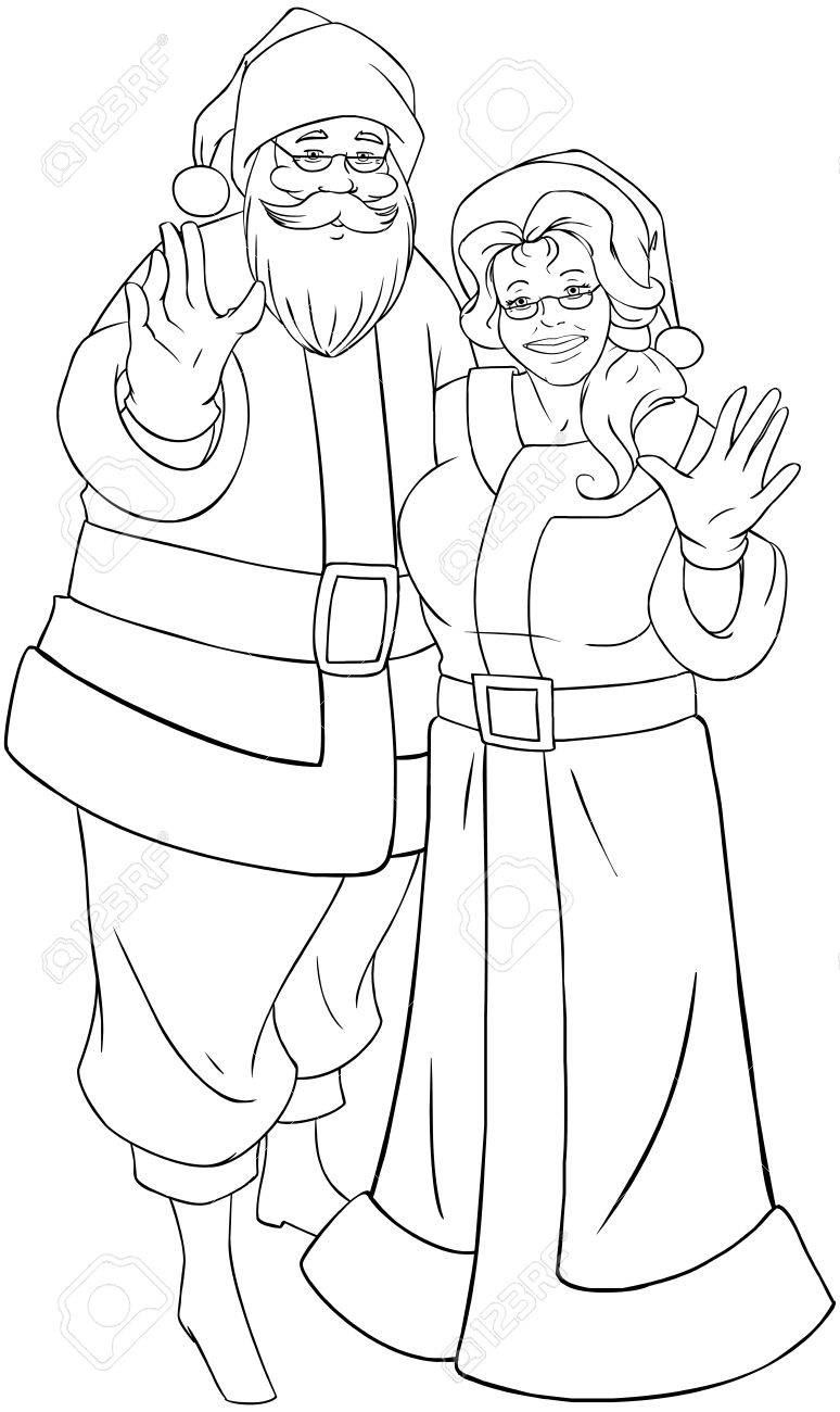 vector vector illustration coloring page of santa and mrs claus standing hugged and waving their hands for christmas