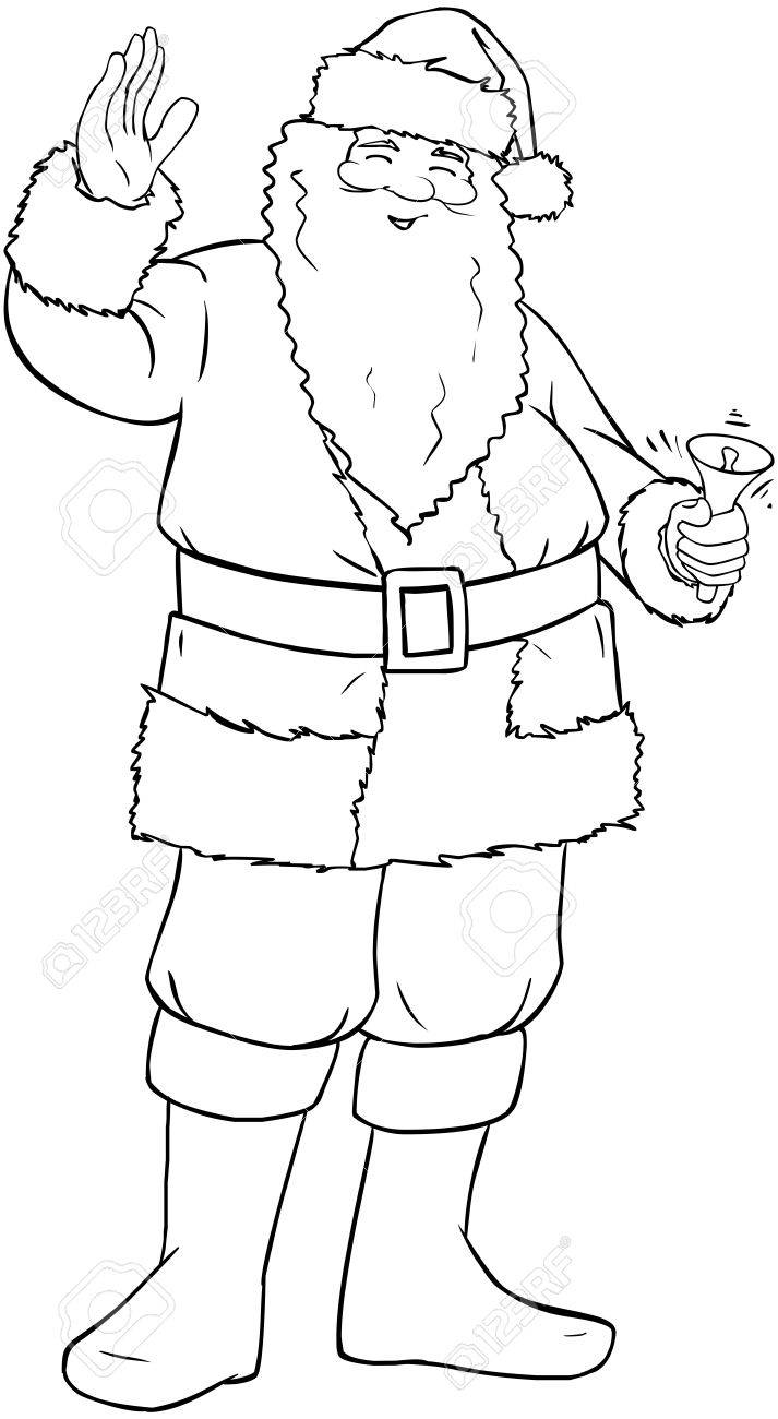 Vector Illustration Coloring Page Of Santa Claus Smiling And ...