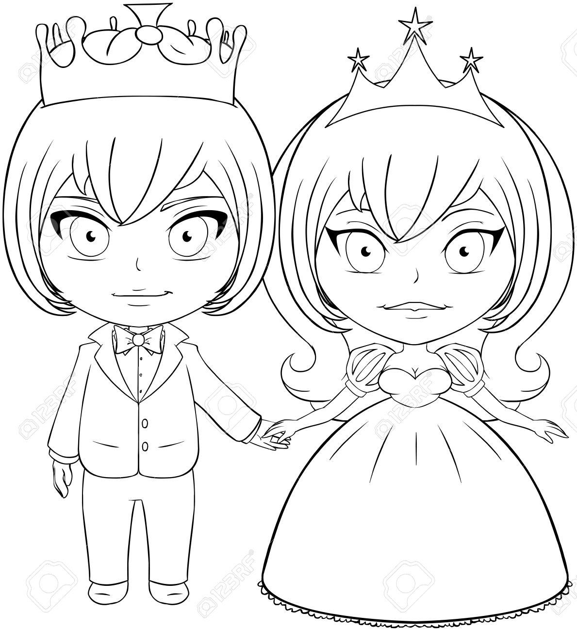 Ilustración Vectorial Para Colorear De Un Príncipe Y La Princesa De ...