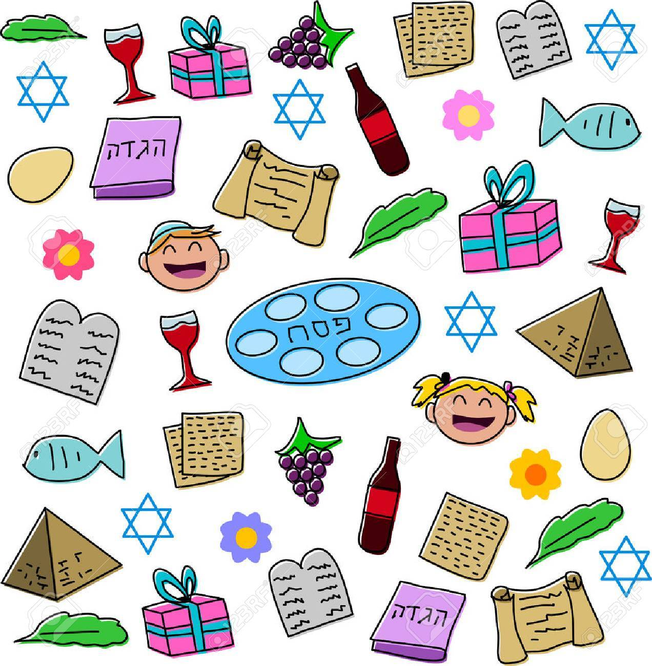 Vector Illustration Pack Of Passover Symbols And Icons Royalty Free