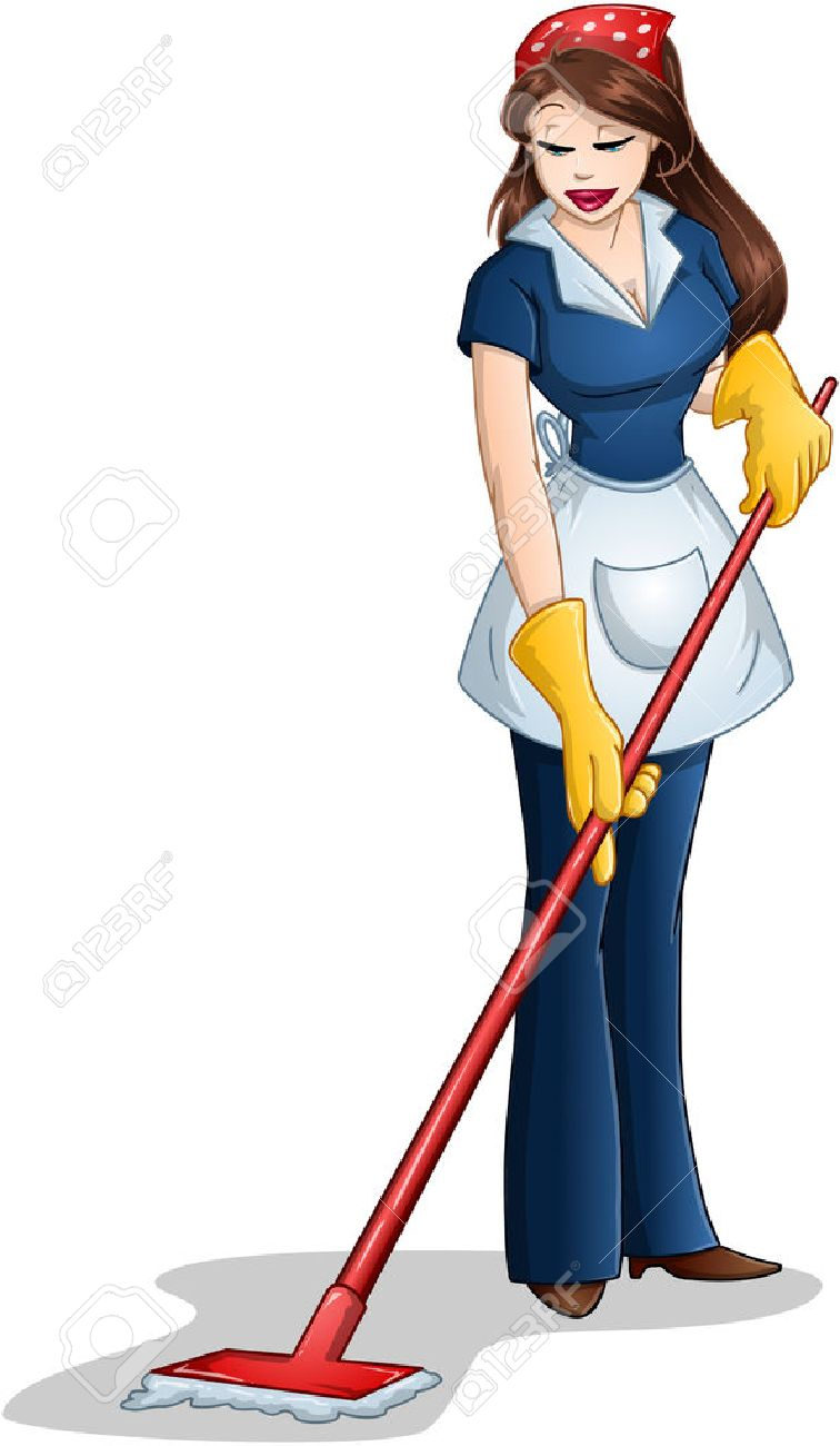 Vector illustration of a woman cleaning with mop for Passover Stock Vector - 27373935