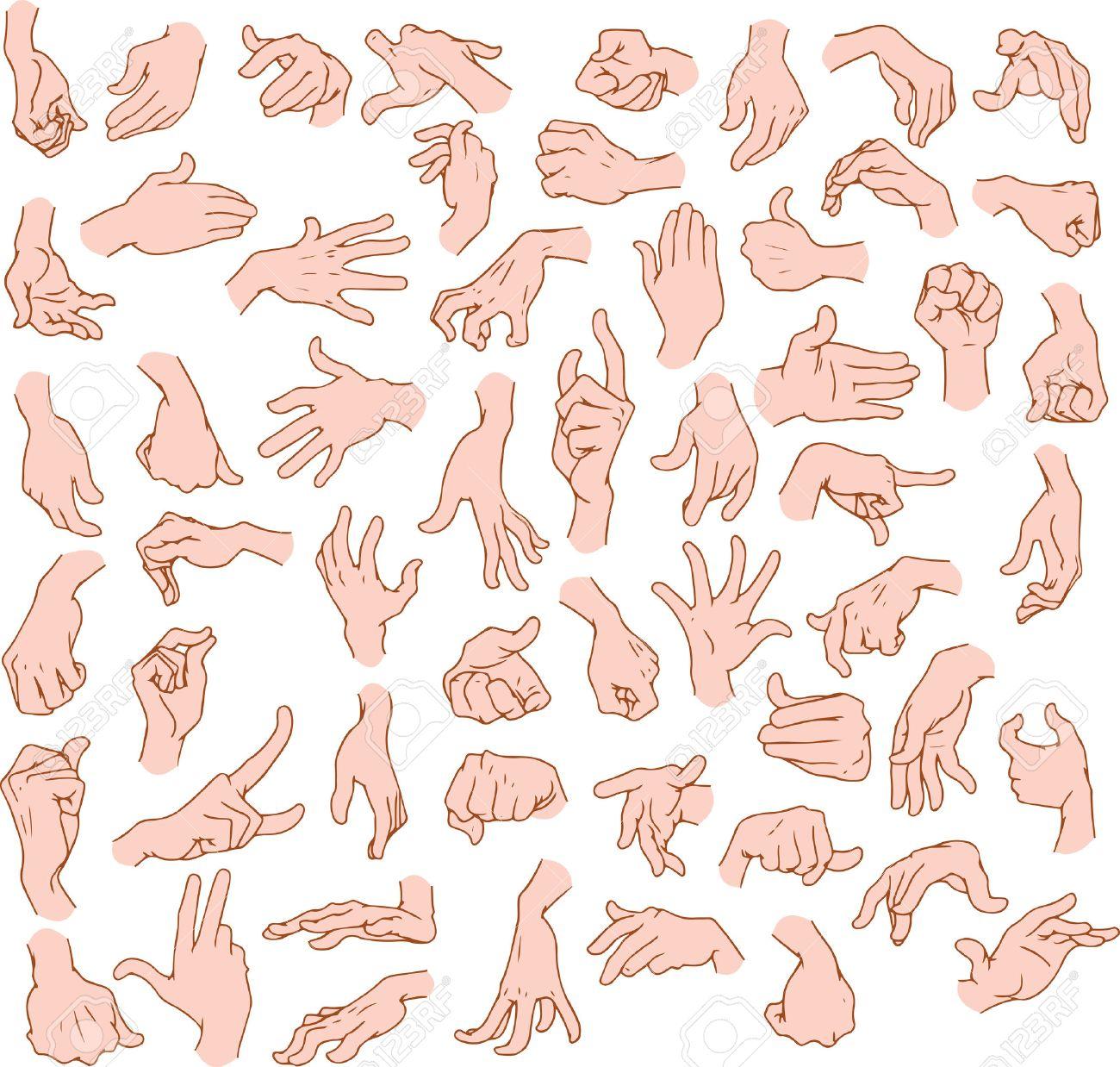 ベクトル イラスト パック男の手の様々 なジェスチャーのイラスト素材