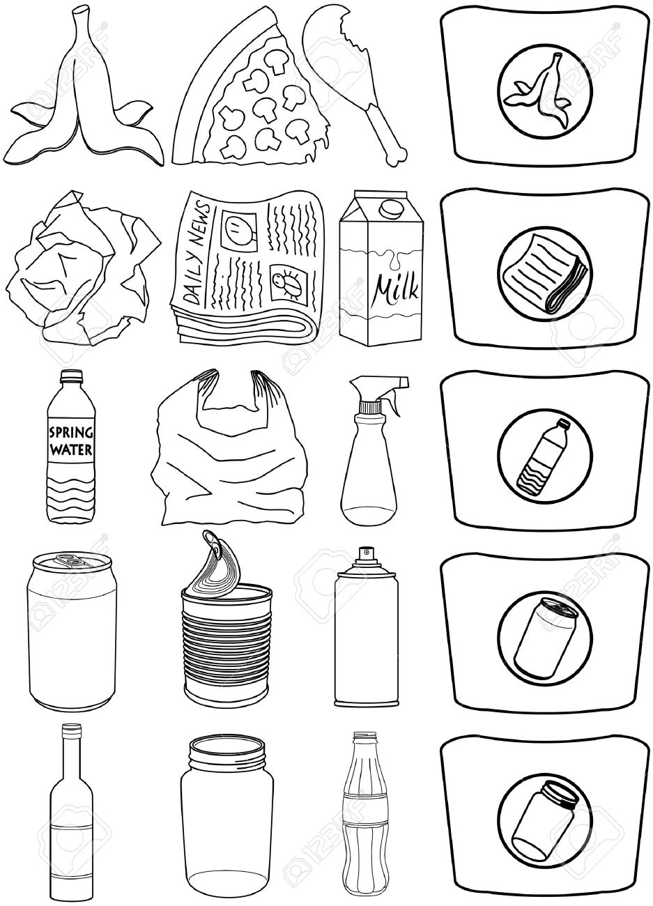Vector illustration pack of organic paper plastic aluminium and glass items for recycling. - 38491825