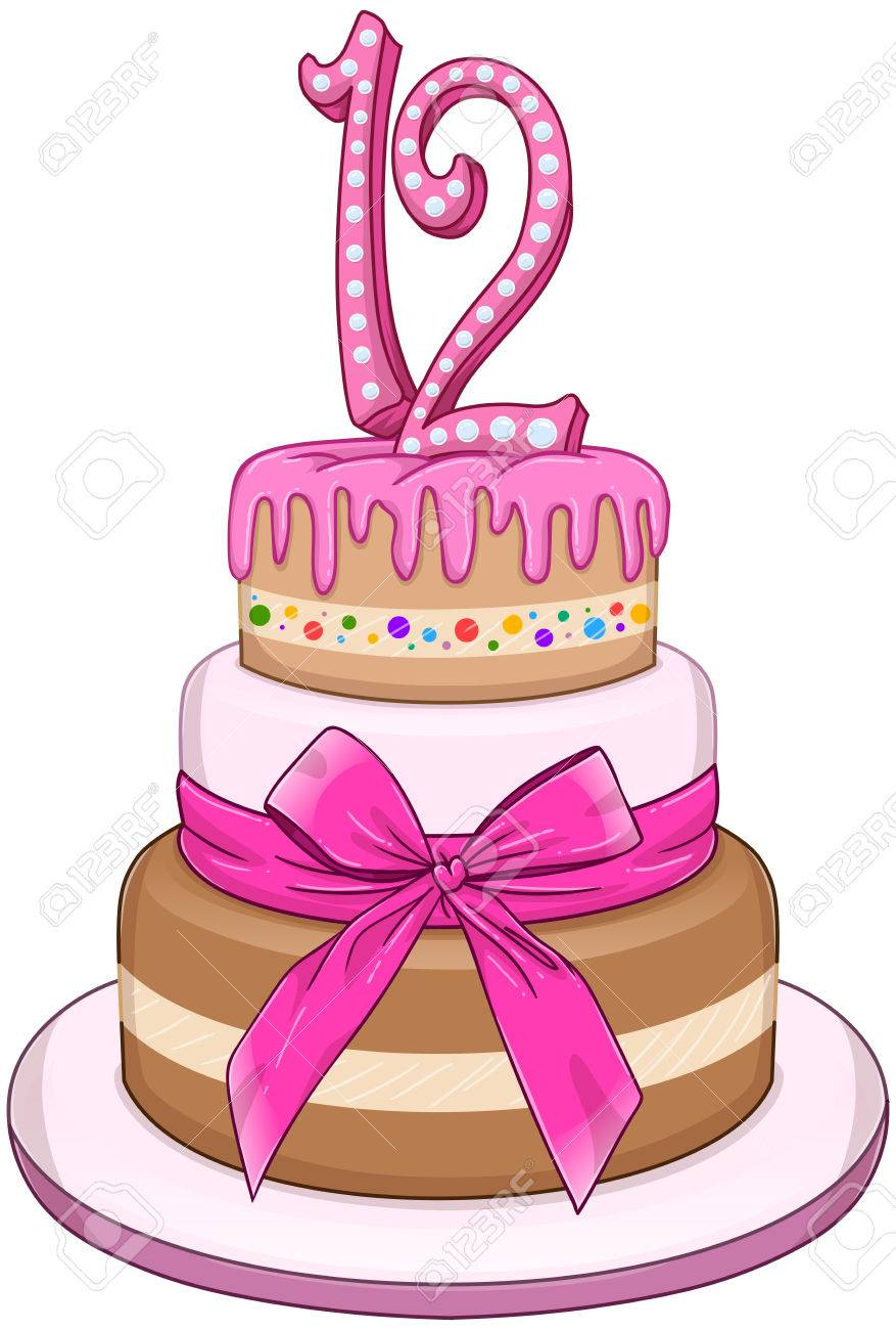 Illustration Of 3 Tiers Pink Cake With The Number 12 On Top Royalty