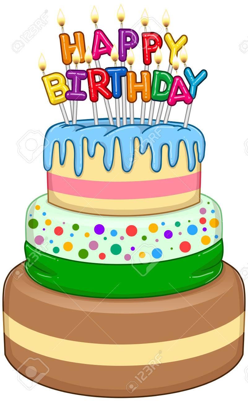 Superb Illustration Of 3 Floors Birthday Cake With Happy Birthday Text Funny Birthday Cards Online Inifodamsfinfo