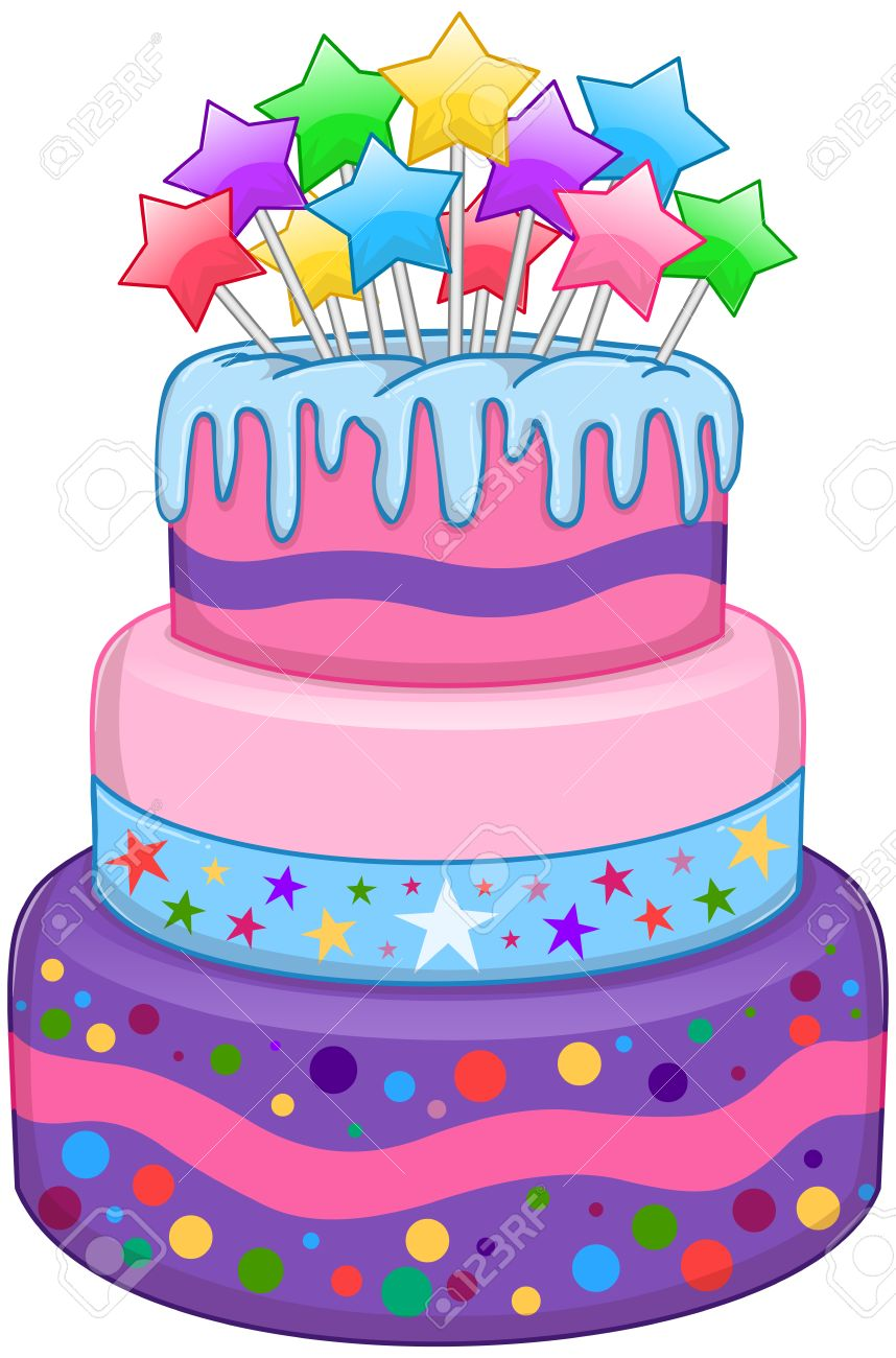 Illustration Of 3 Tiers Birthday Cake With Colorful Stars On