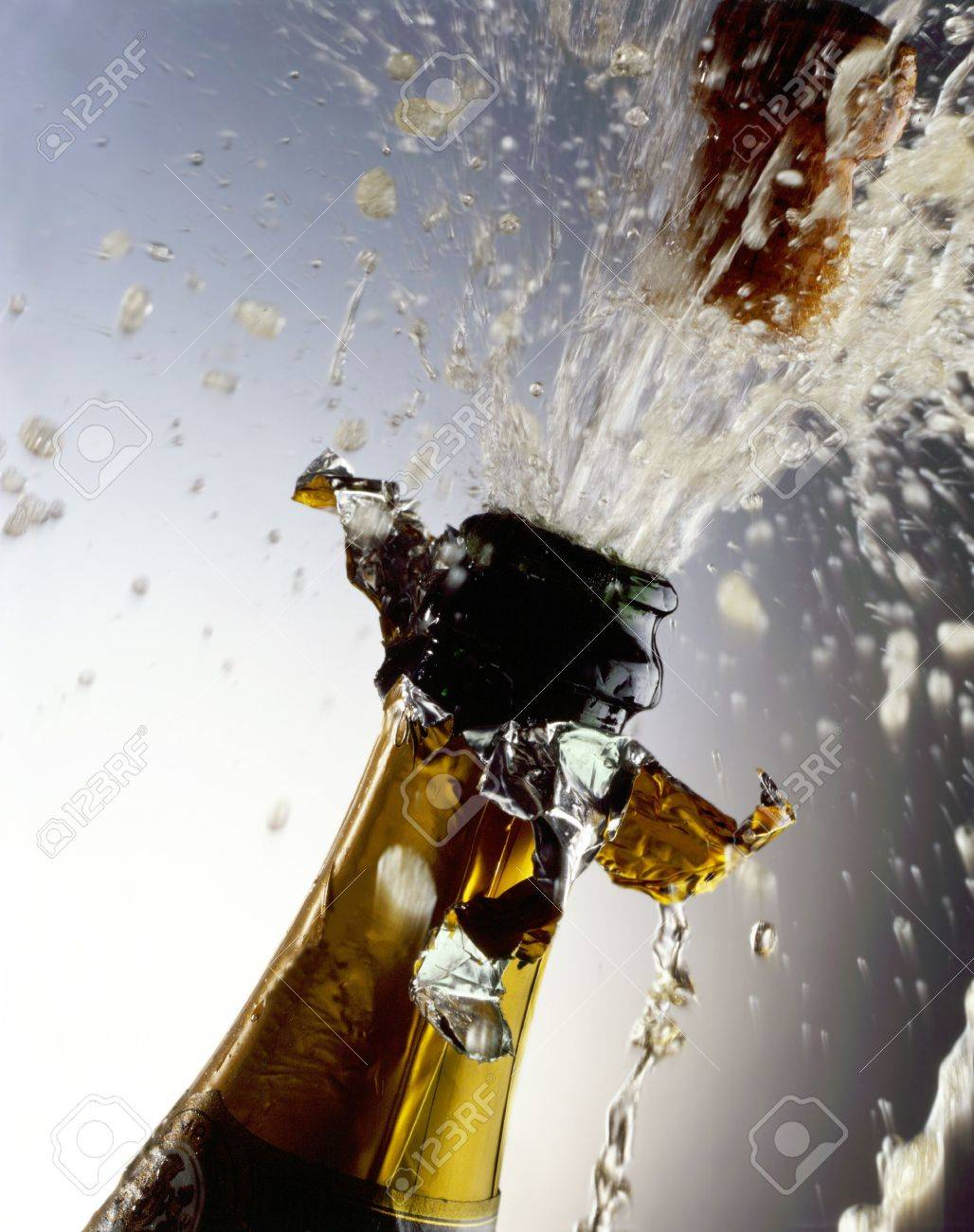 Champagne Bottle with cork shooting Stock Photo - 7527318