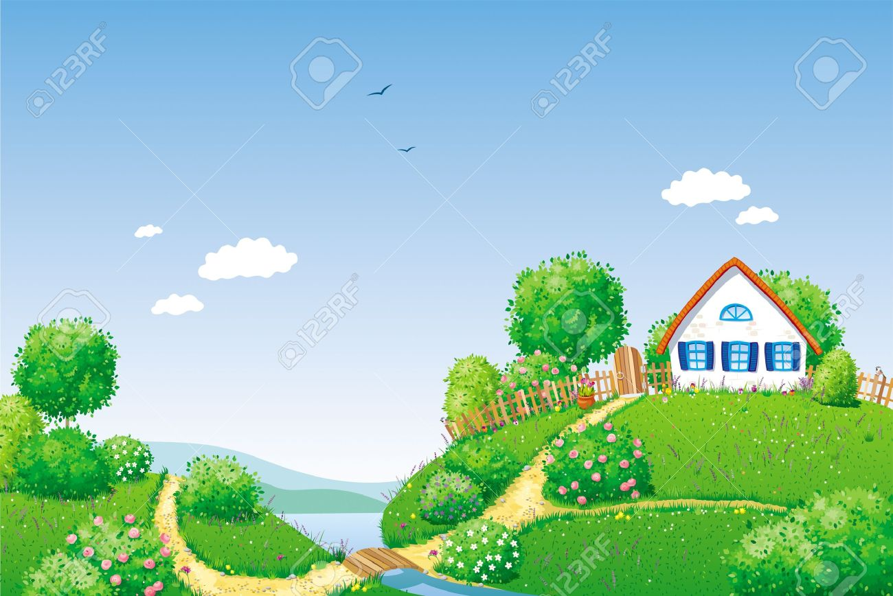 Rural summer landscape with small house, river, trees and bushes Stock Vector - 13835782