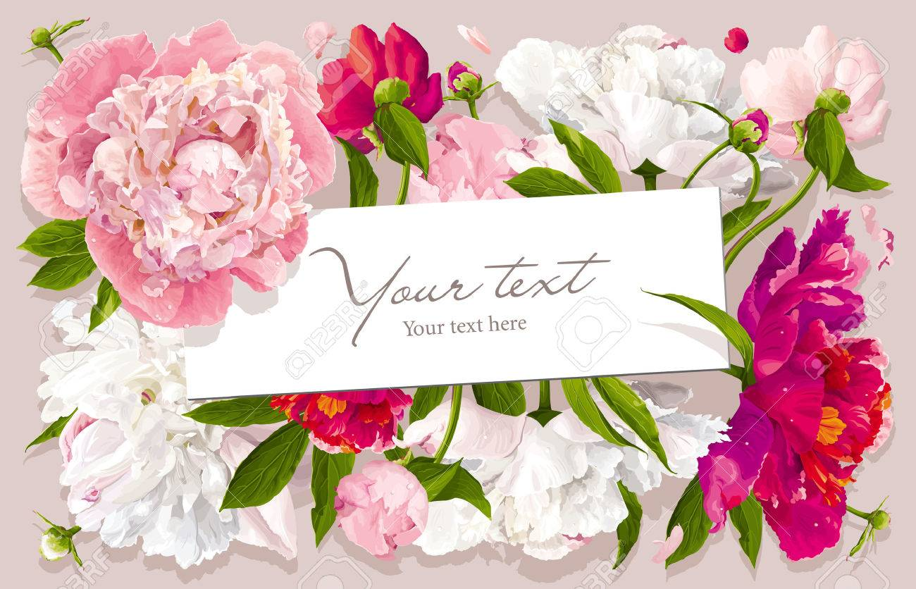 Luxurious pink red and white peony flower and leaves greeting luxurious pink red and white peony flower and leaves greeting card with a paper label mightylinksfo