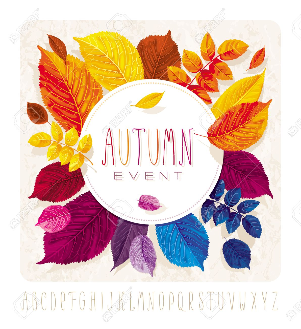 Autumn leaves card for events and sales with round label on grunge autumn leaves card for events and sales with round label on grunge background stock vector kristyandbryce Images
