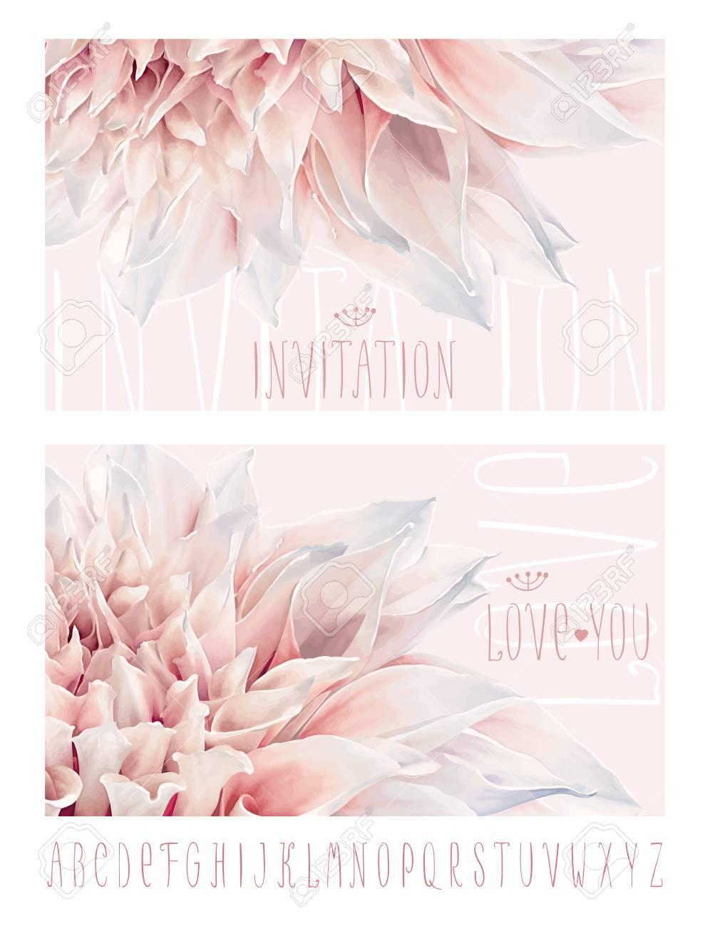 Vektor Blumen Gruss Und Einladungskarten Zum Valentinstag Hochzeit
