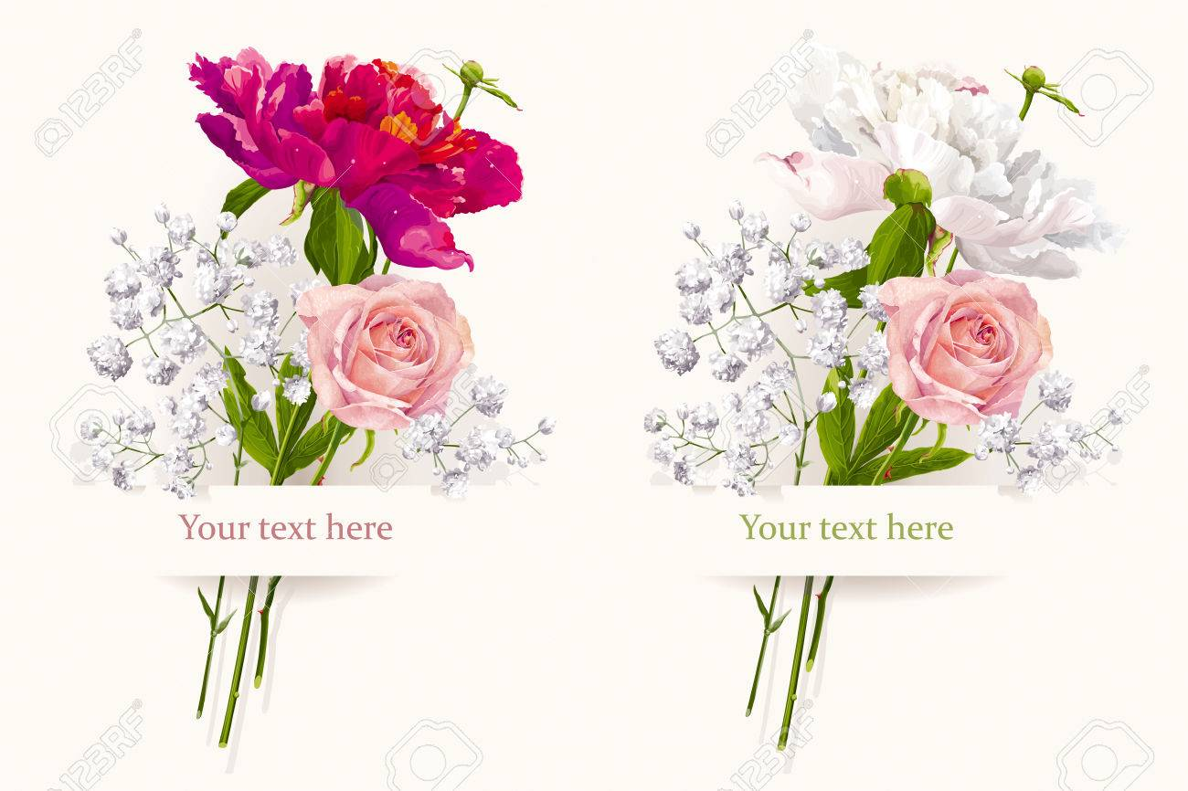 Vintage Set Of Two Summer Flowers Bouquets For Valentine\'s Day ...