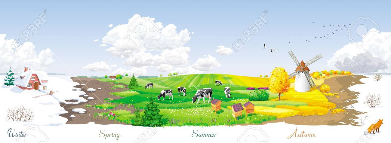 All the year round - ecological concept - seamless landscape with four seasons (winter, spring, summer, autumn) of the year at a rural panorama with fields, cows, windmill and apiary. For packs, posters, banners and Calendars. - 66018476