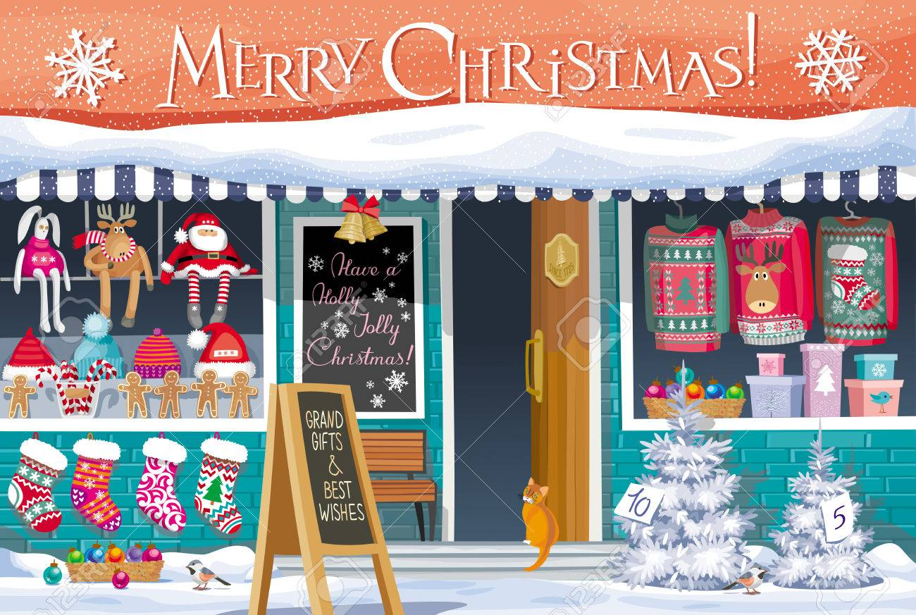 Showcase gift shop with christmas symbols greeting card banner showcase gift shop with christmas symbols greeting card banner or poster for sales and kristyandbryce Images