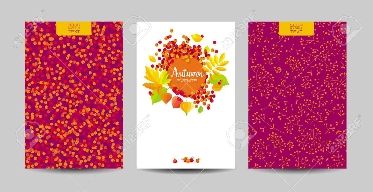 vector set of the autumn foliage backgrounds for wedding decoration