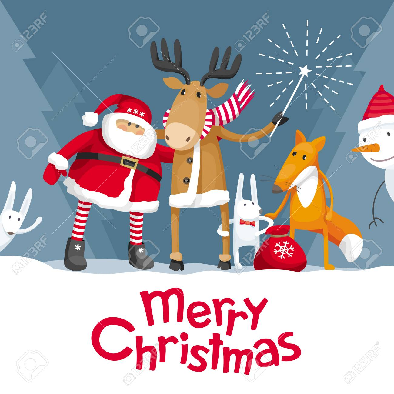 Vector christmas greeting card santa claus and cute forest vector christmas greeting card santa claus and cute forest animals elk deer kristyandbryce Images