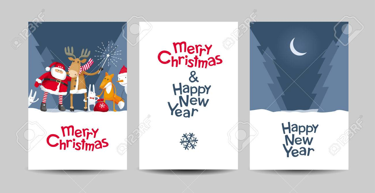 Set of merry christmas and happy new year vector cards with set of merry christmas and happy new year vector cards with calligraphic lettering design with cartoon kristyandbryce Images
