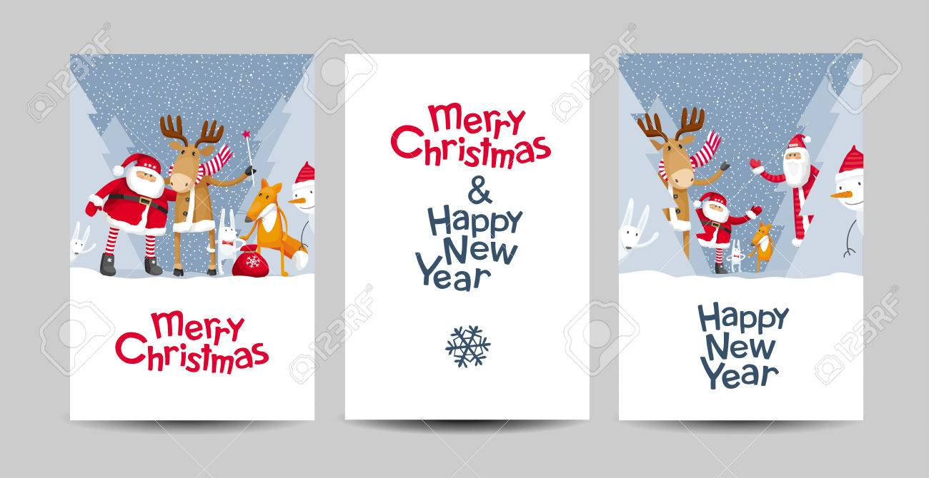 Set of merry christmas and happy new year vector cards with set of merry christmas and happy new year vector cards with cartoon santa claus and cute kristyandbryce Images