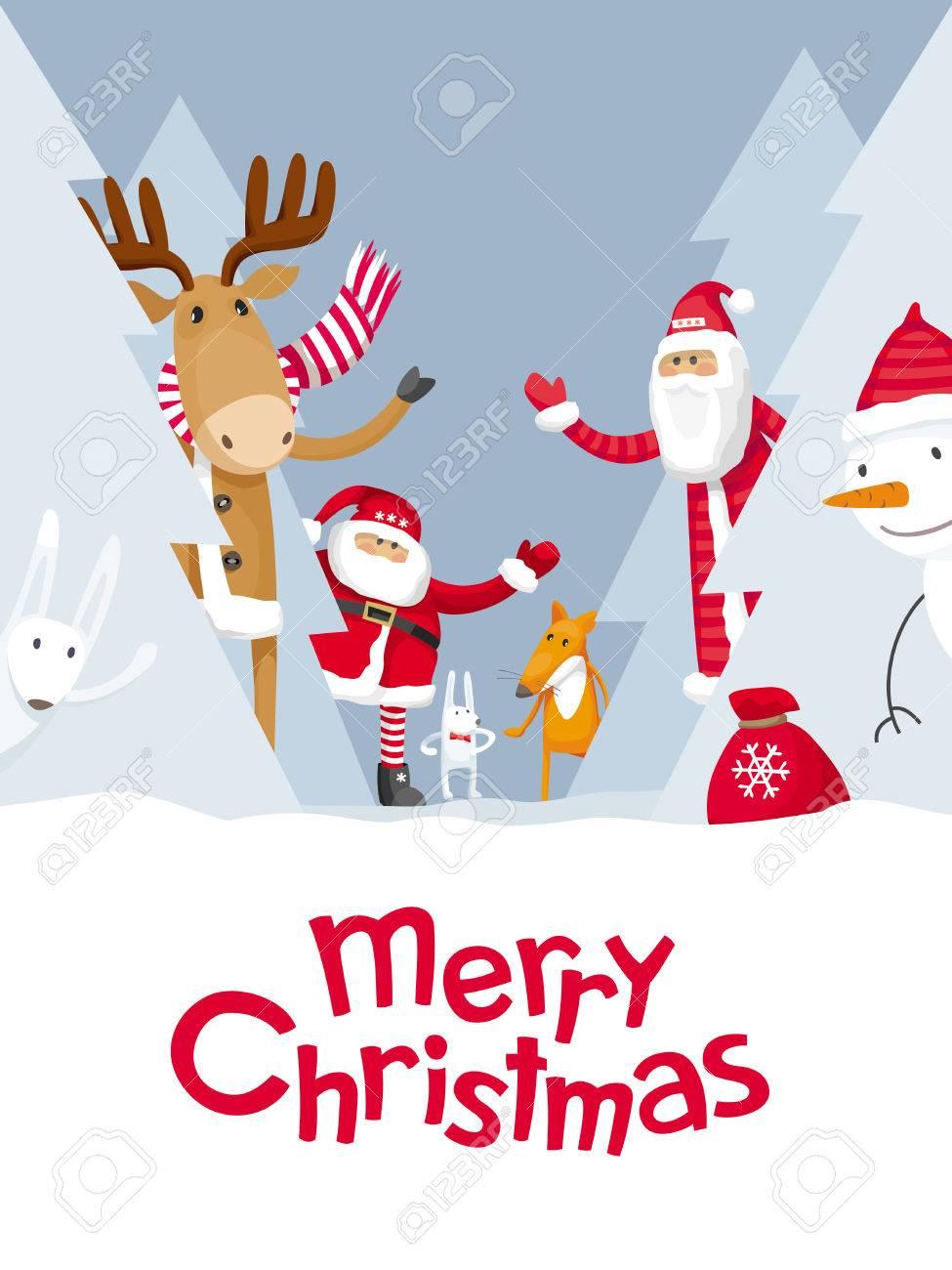 Vector christmas greeting card santa claus and cute cartoon vector christmas greeting card santa claus and cute cartoon forest animals elk deer kristyandbryce Images
