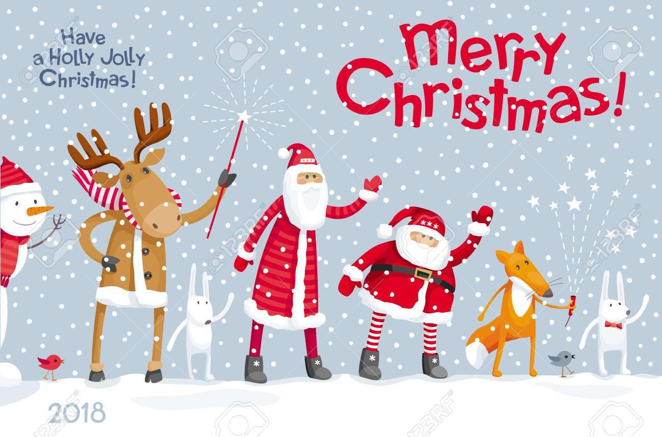 Vector christmas greeting card christmas party in the winter vector christmas greeting card christmas party in the winter forest with the participation of santa kristyandbryce Images
