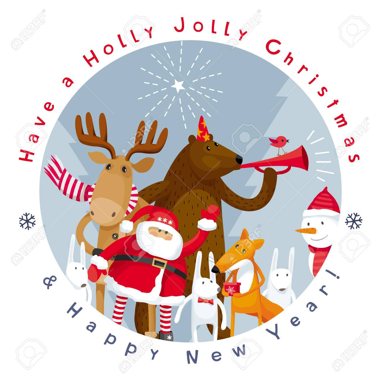Holly Jolly Christmas.Have A Holly Jolly Christmas And Happy New Year Vector Image