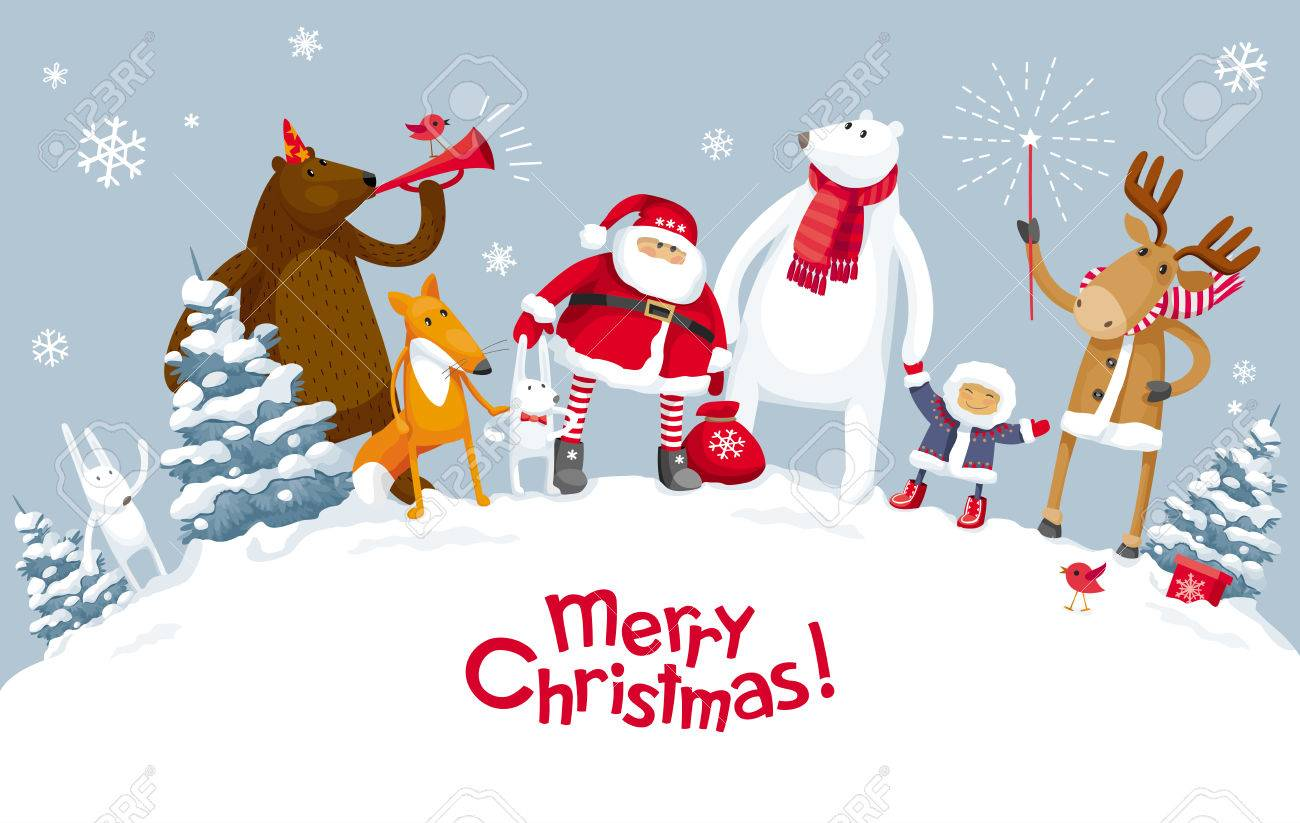Christmas Party In The Winter Forest With The Participation Of Royalty Free Cliparts Vectors And Stock Illustration Image 87109278