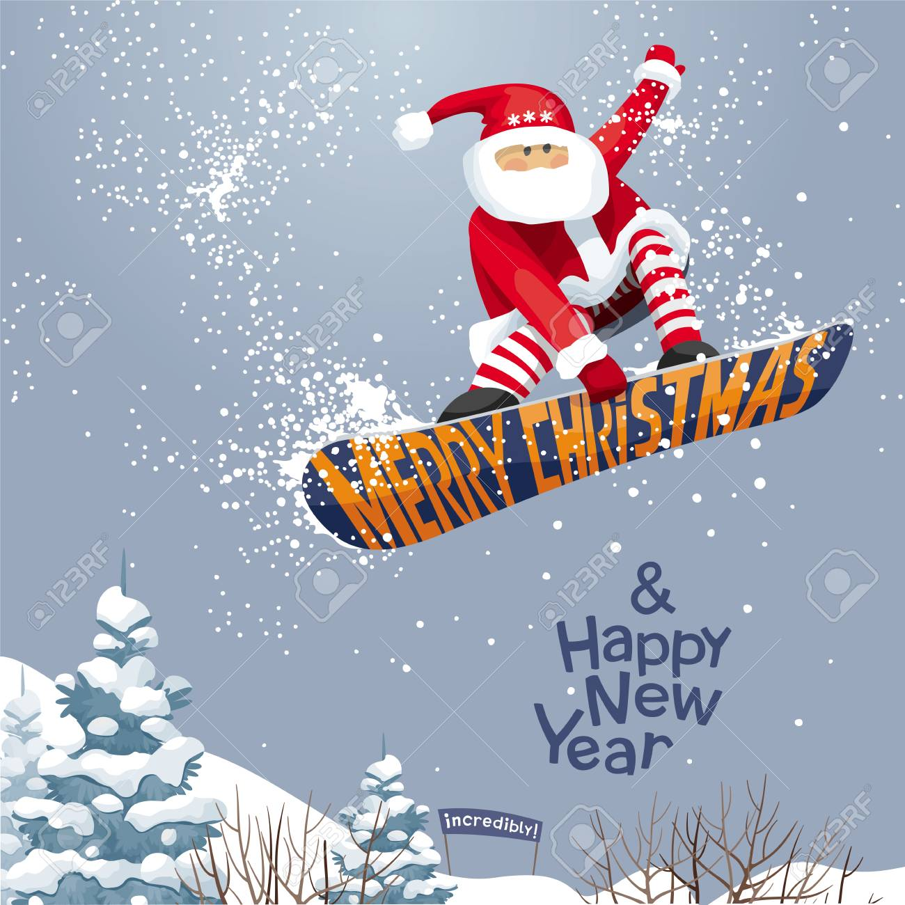 merry christmas and happy new year vector christmas card royalty