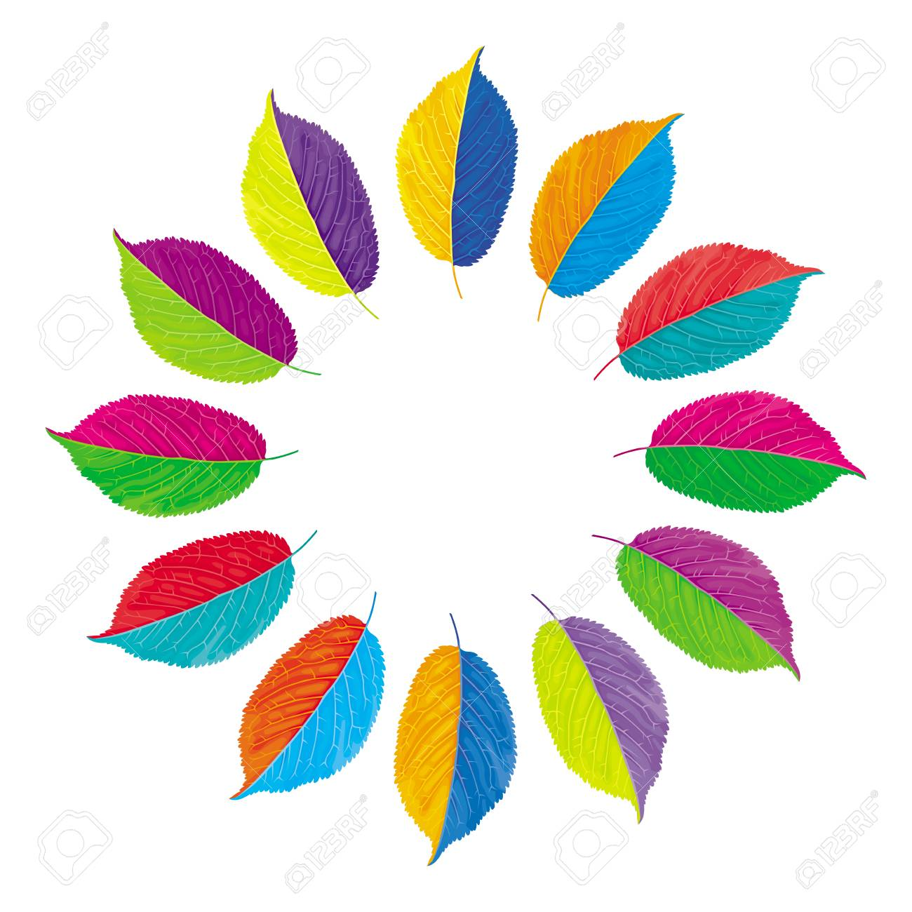 Vector Color Wheel With Opposite Colors Made From Multi Colored