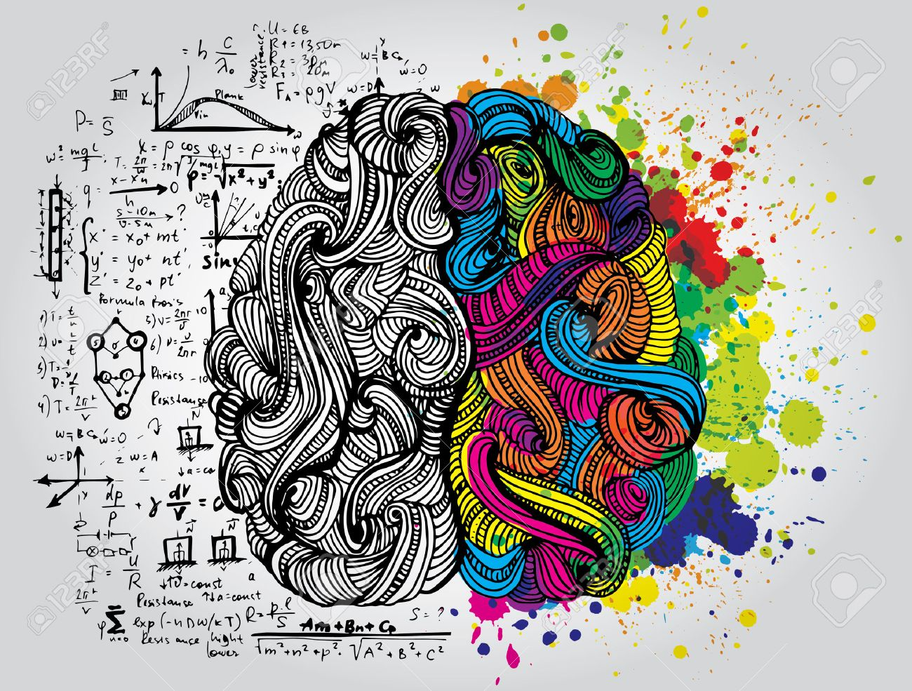 Bright sketchy doodles about brain with colored elements - 36646454