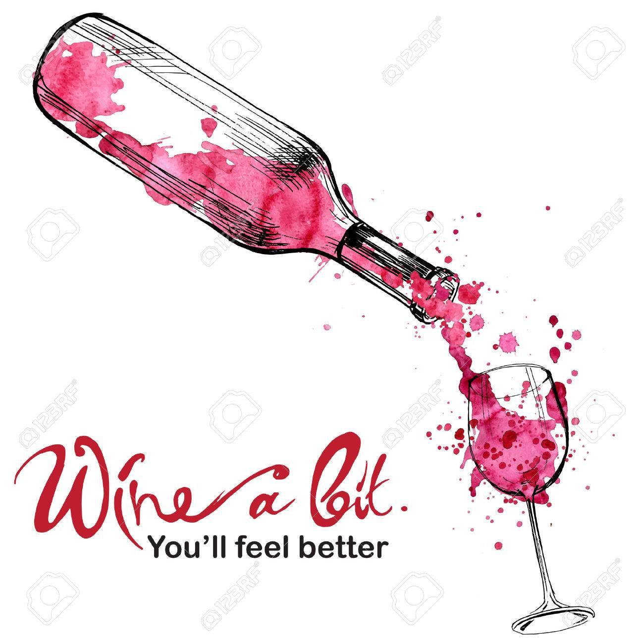 ワインのイラスト スケッチとアート スタイルのイラスト素材ベクタ