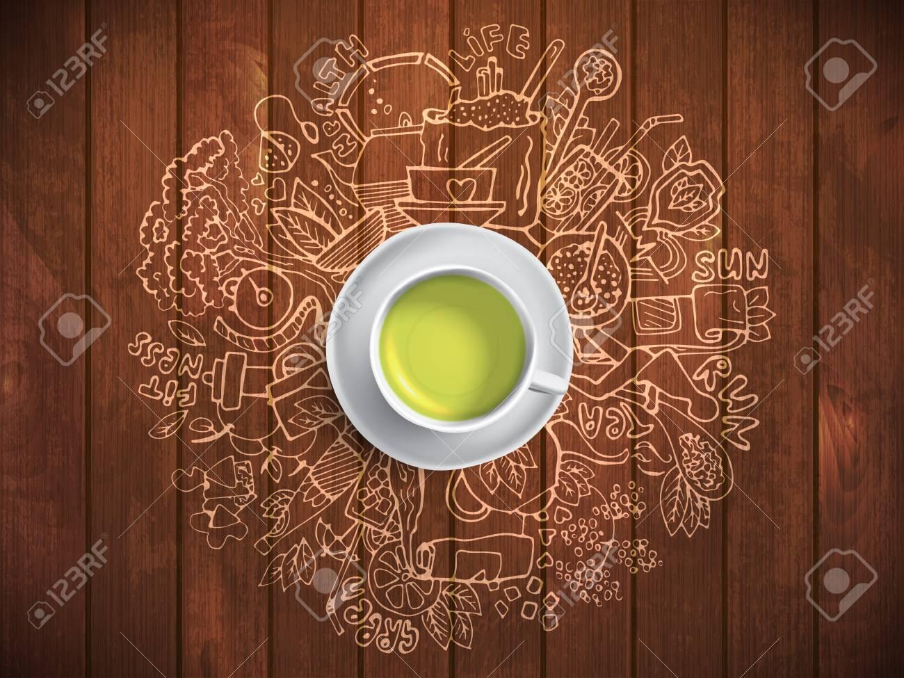 Realistische Schale Gruner Tee Mit Kreisgekritzeln Skizzierte