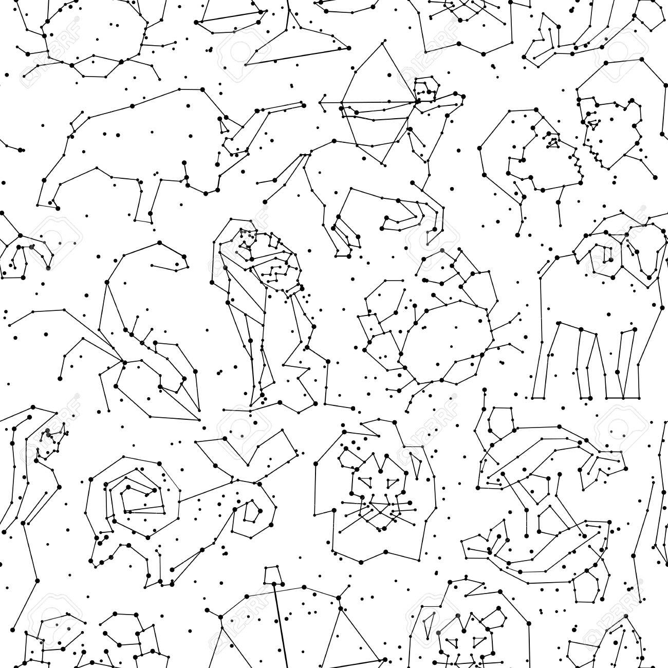 Calendrier Du Zodiaque.Modele Sans Couture D Horoscope Tous Les Signes Du Zodiaque Dans Le Style De La Constellation Avec La Ligne Et Les Etoiles Sur Fond Blanc