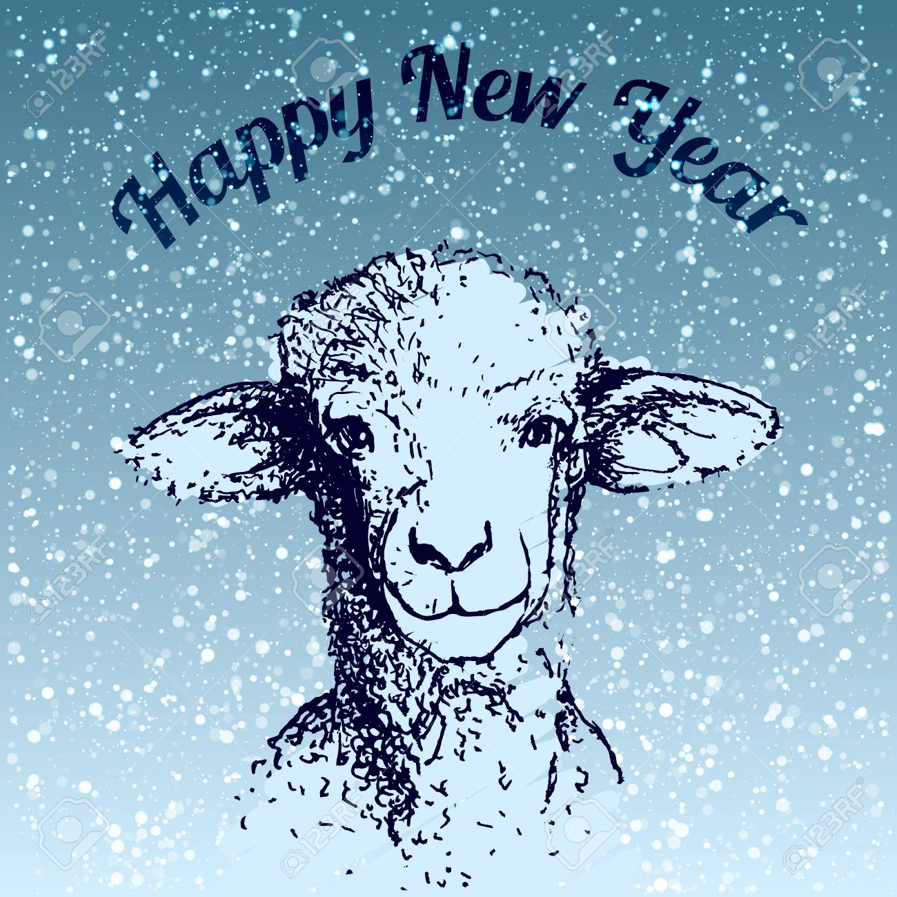 happy new year sheep illustrarion with snowfall and blue background stock photo 91328355