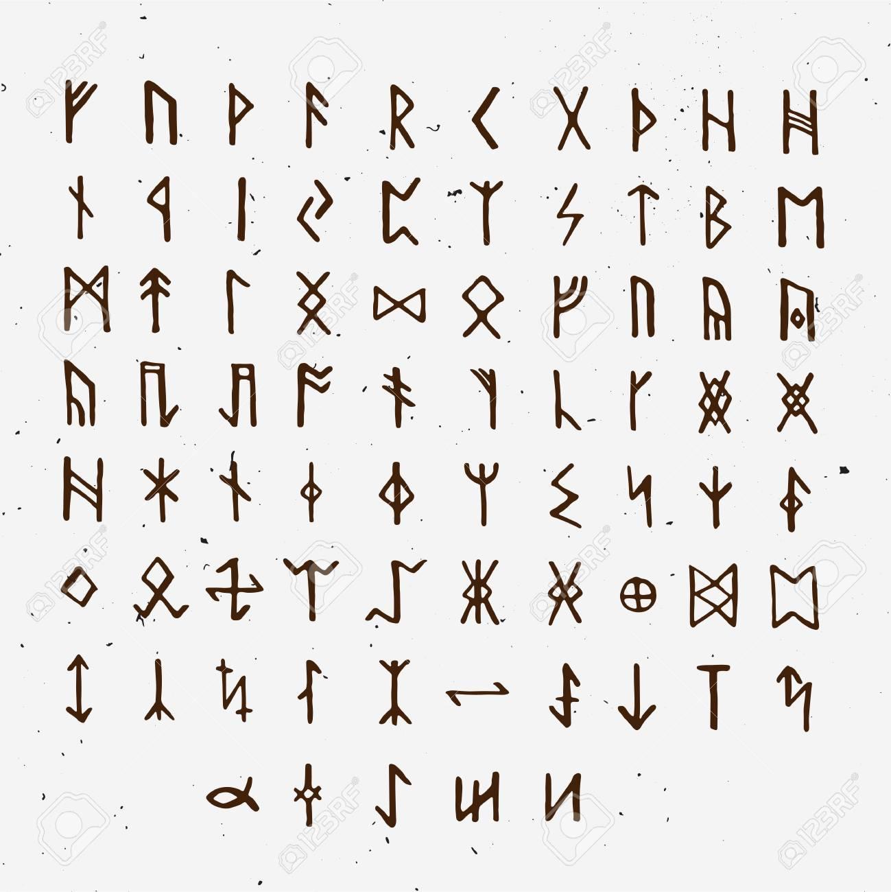 Set Of Old Norse Scandinavian Runes Runic Alphabet Futhark Ancient Occult Symbols