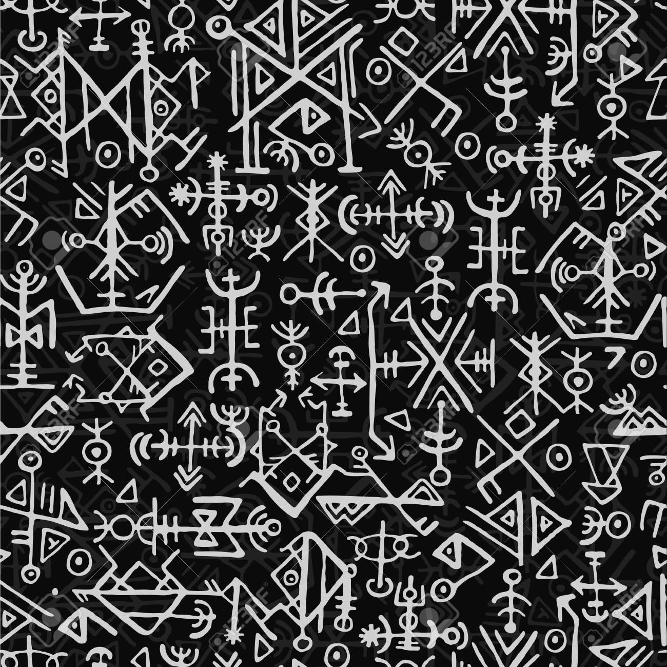 Futhark Norse Islandic And Viking Symbol Seamless Pattern Magic