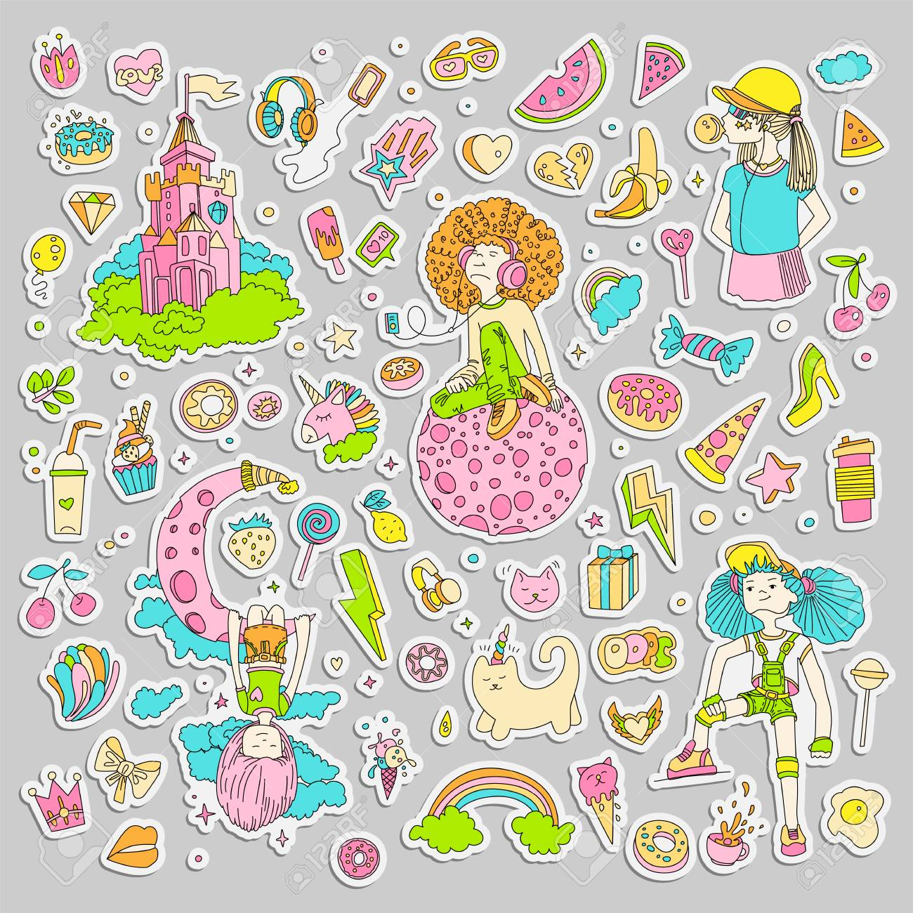 Colored set of teenage girl stickers cute cartoon teen patches fun stickers design vector