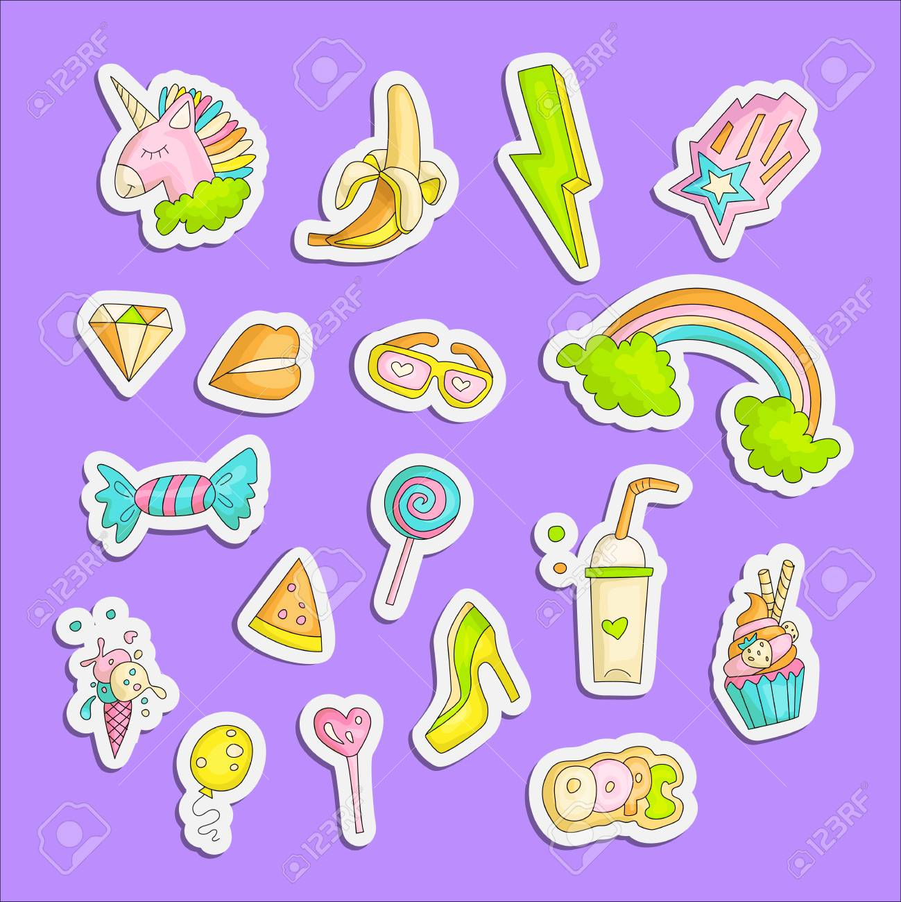 Cute Funny Girl Teenager Colored Stickers Set Fashion Cute Teen