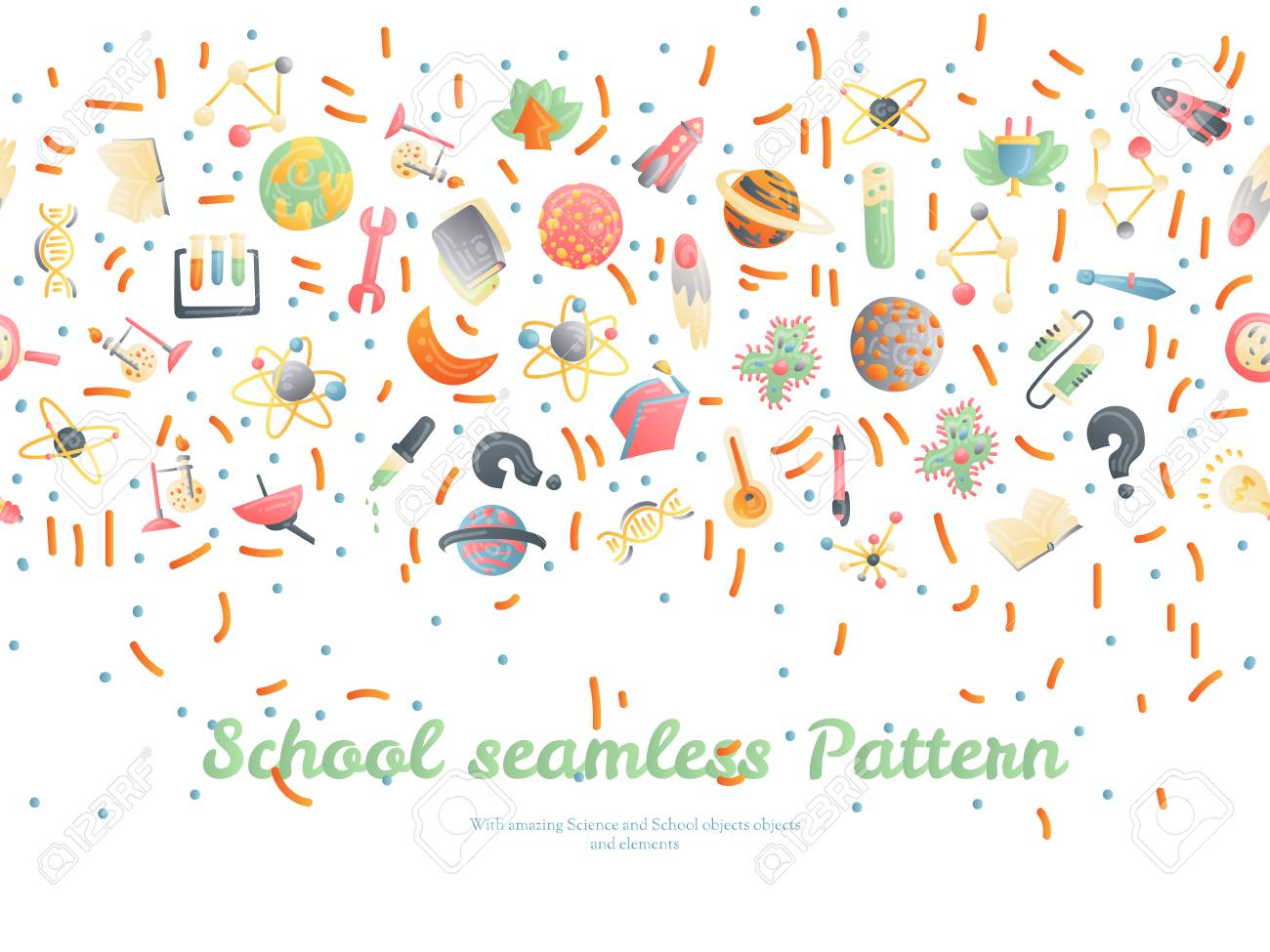 Cute cartoon back to school and college fun seamless pattern