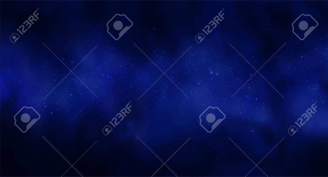 Vector illustration of Cosmos Space background with starry sky, star massive in deep cosmos in blue and black colors. Abstract futuristic, technology, astrology background. Deep space background - 137974364