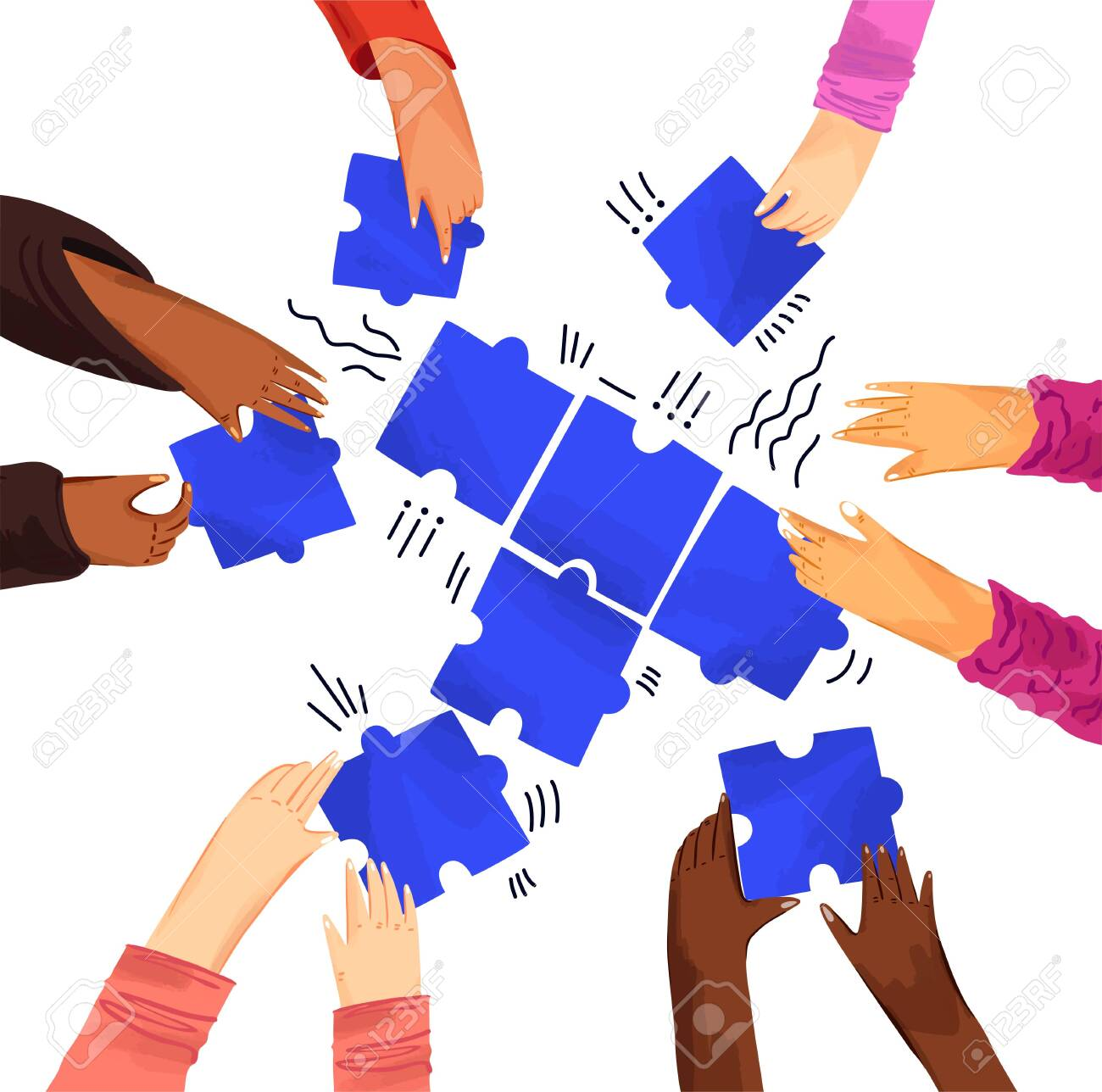 Hands of diverse people with puzzles vector illustration. Solving problems with team, making decisions. Hands assembling jigsaw puzzle, african and caucasian team put pieces together - 148395855