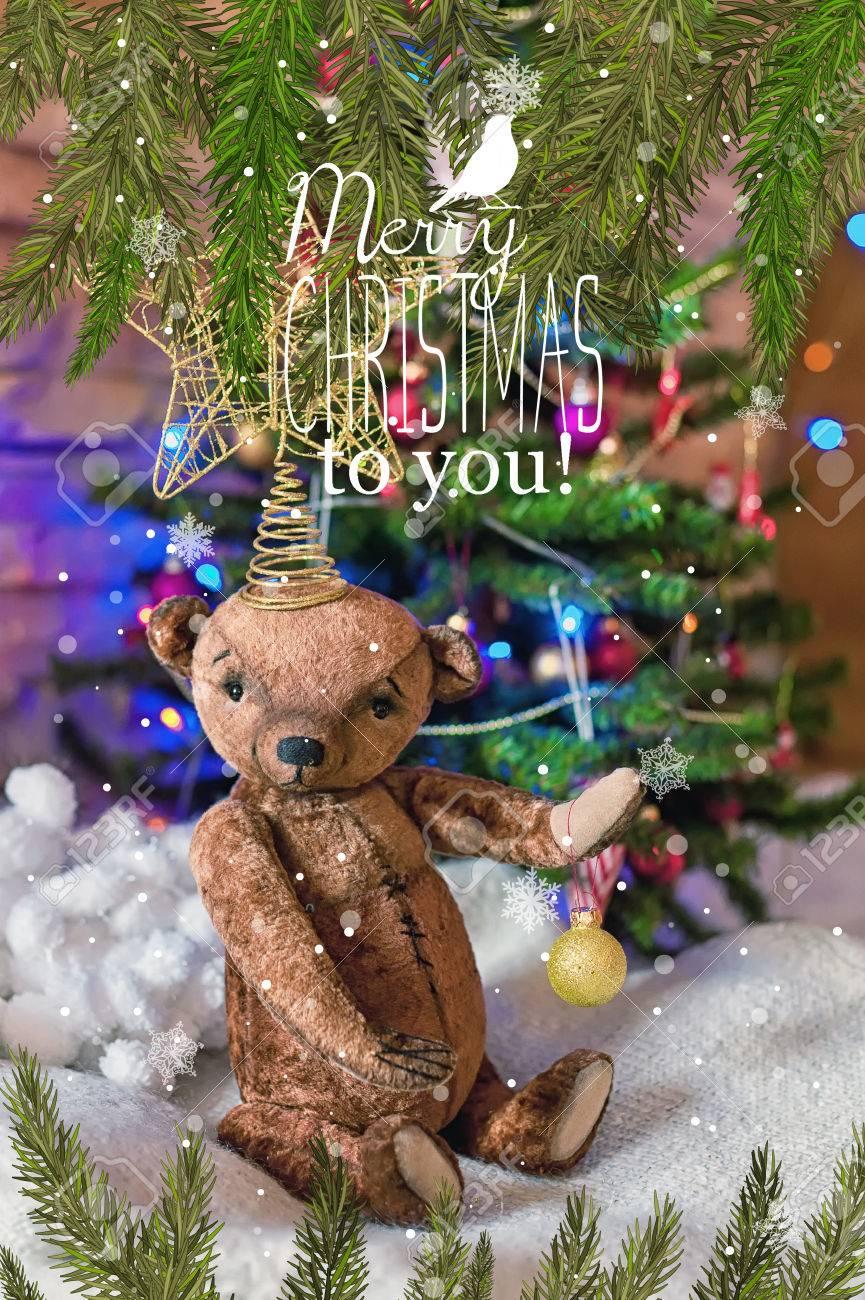 christmas card with teddy bear a christmas tree ornaments gold glitter fir