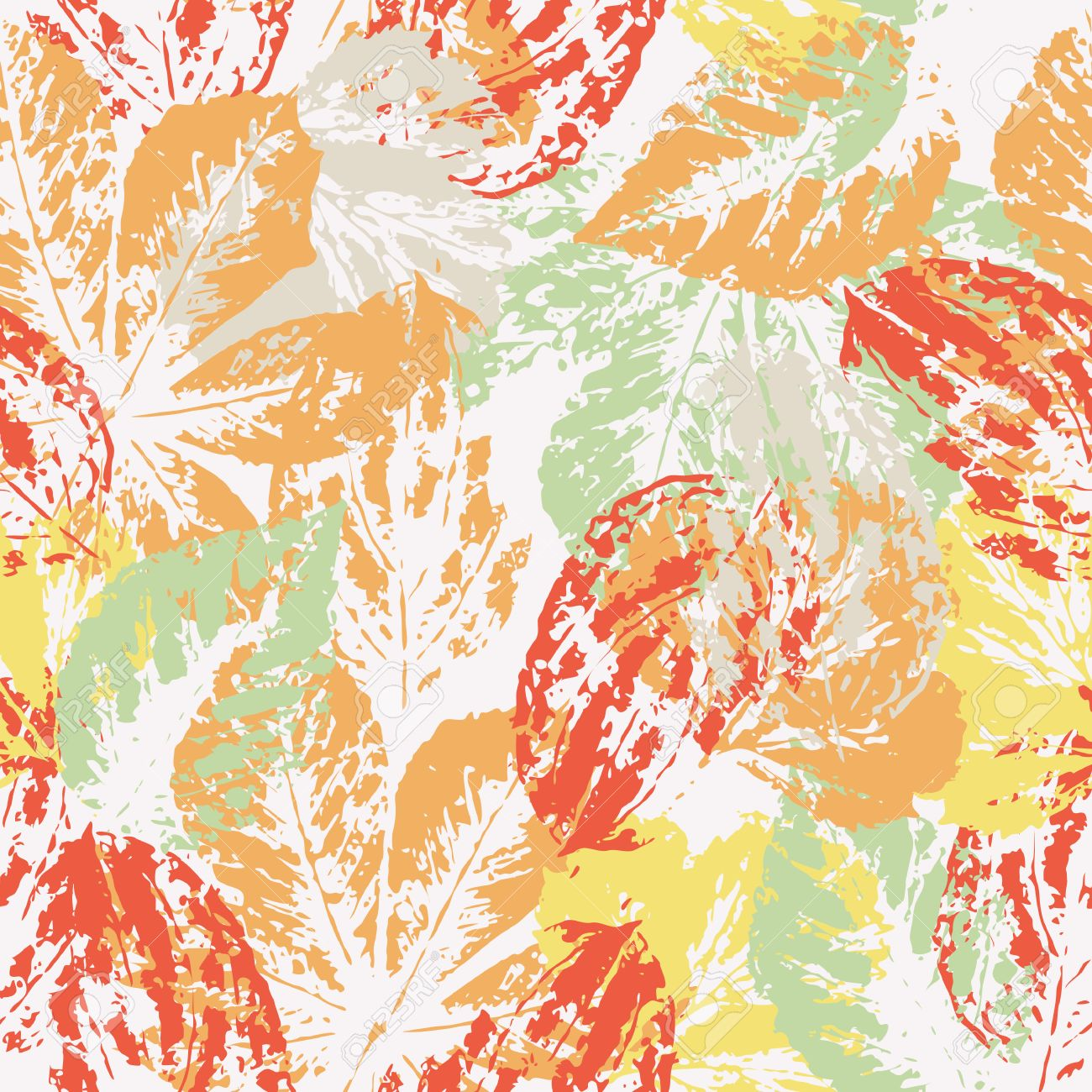 watercolor prints of colored autumn leaves with dererve and shrubs