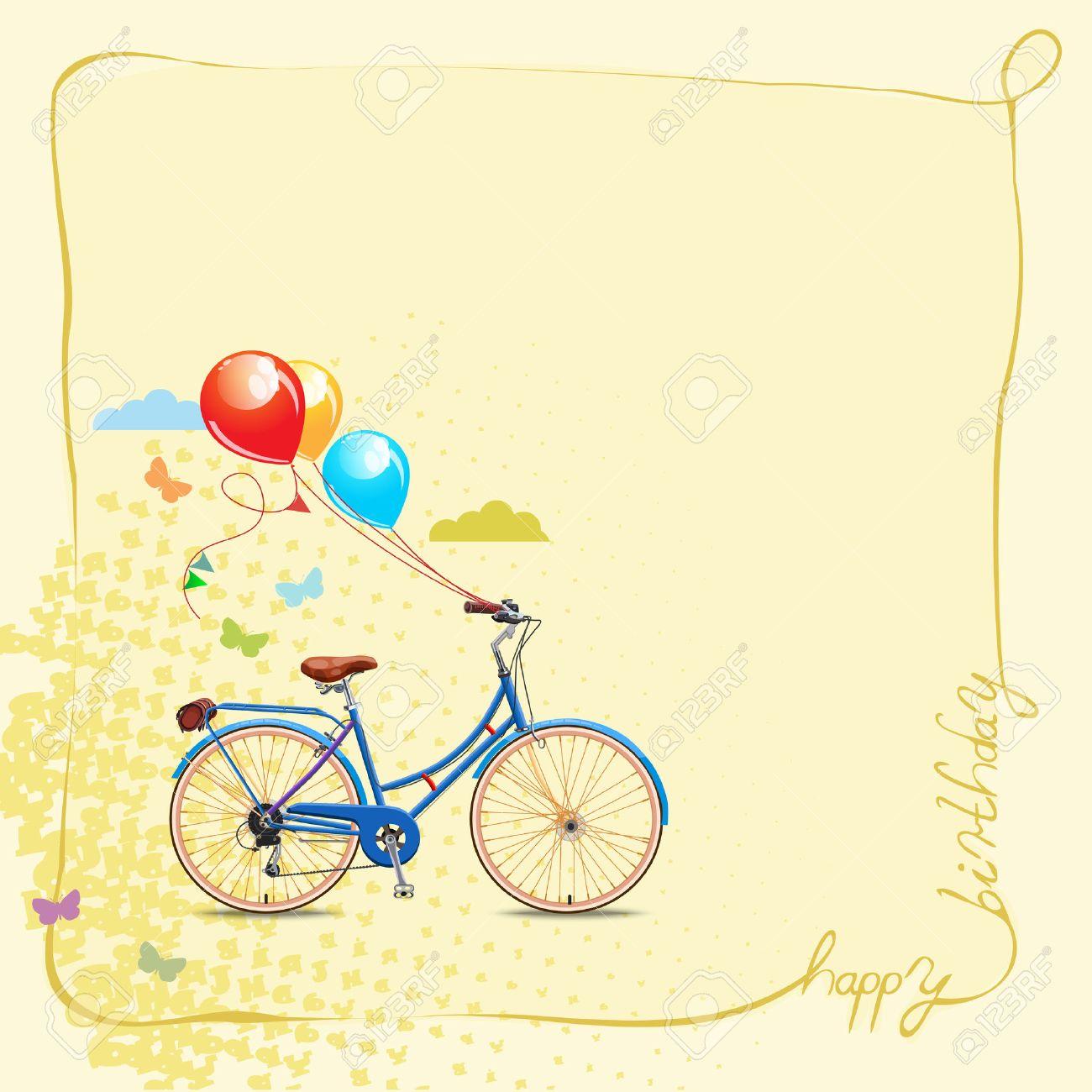Alles Gute Zum Geburtstag Romantische Grusskarte Fahrrad Und Kuchen