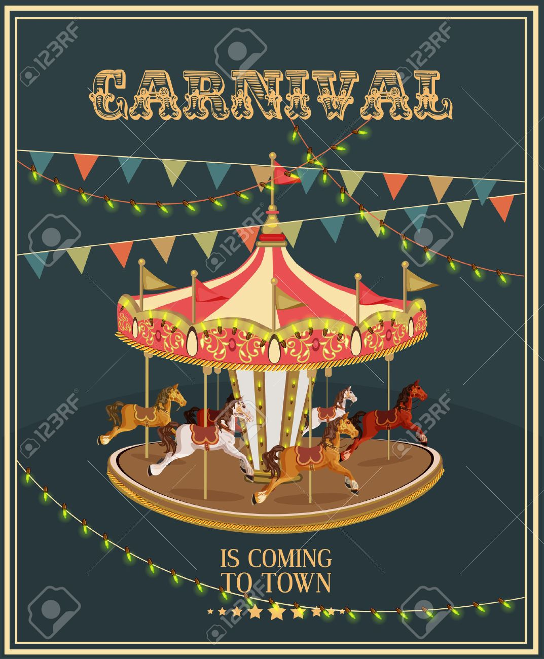 Carnival Poster With Merry-go-round In Vintage Style. Carousel ...